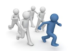 five people running away