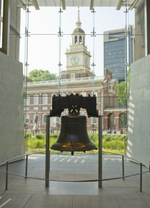 Liberty Bell with Philadelphia buildings