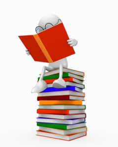 white person with glasses on stack of books